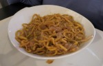 pasta with red onions and anchovies, a Betsy special